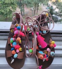 Kožne sandale pom pom-izrada po želji