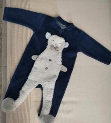 Plava plisana zeka za bebe sa ovcicom
