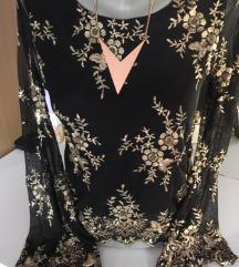 Svečana crna bluzica sa zlatnim detaljima