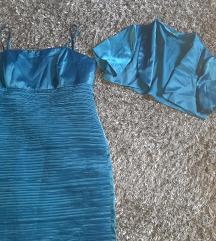 Svecana plava haljina sa bolerom 46 snizena 2500