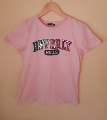 Terranova roze majica sa šljokičavim natpisom