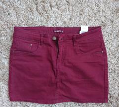 Bordo mini teksas suknja