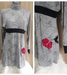 Haljina/tunika sa cvetovima i pticom
