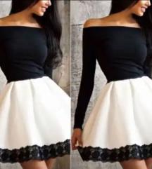 Crno bela haljina sa cipkom