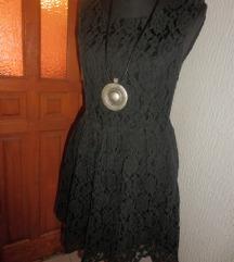 Svečana mini haljina od pamučne crne čipke 38