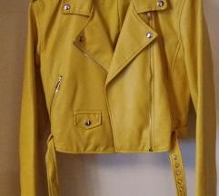 BERSHKA zuta kozna jakna