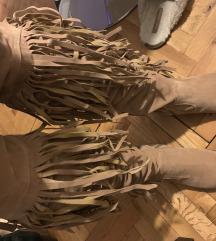 Kozne cizme preko kolena sa puno resa