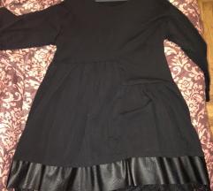 Crna pamucna haljina za punije