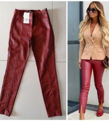 ZARA burgundy kozne helanke/pantalone