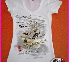 Bela majica V izrez sa aplikacijom i cirkonima