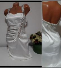 Saten bela haljina vel L