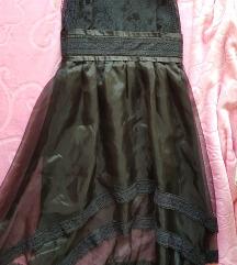 Crna koktel cipka haljina