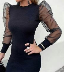Crna haljina sa til puf rukavom XS /S