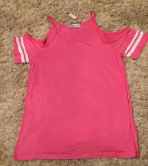 Roze majica bez ramena