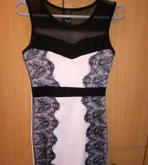 Crno bela haljina sa cipkom s/m