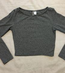 H&M zenska siva crop top majica