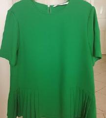 Novo Zara bluza smaragdna plisirana