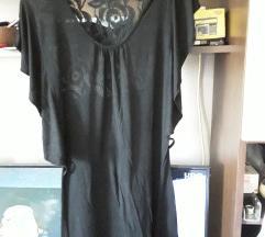 Pamucna crna svecanija bluza sa čipkom S-M