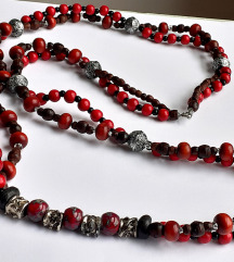 Dvoredna ogrlica, drvene perle. keramika, metal