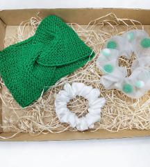 Pletena traka za kosu Set Box Scrunchies