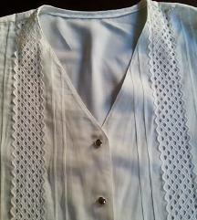 Vintage Romanticna bluza sa belim  vezom