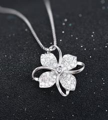 Privezak i ogrlica cvet srebro 925 NOVO