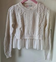 Beo džemper sa tilom i biserima