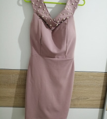 Puder roze haljinica sa biserima + poklon