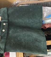 ZARA mini suknja od prave kože (velur)