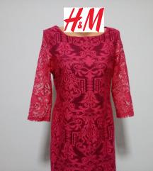 H&M ciklama cipkana haljina