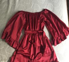 Svilena bordo haljina