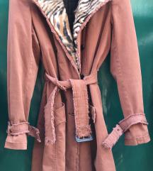 Roccobarocco zenski kaput mantil sa krznom