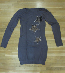 634. Braon tunika sa zvezdicama, V izrez