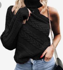 Crni džemper na jedno rame NENOŠEN