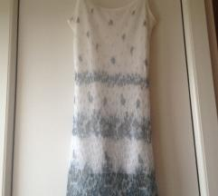 Bela haljina sa sivim cvetićima