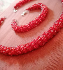 Crvena ogrlica i narukvica komplet