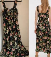 Zara pamucna haljina, cvetni print