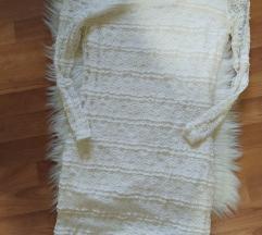 Bela cipkasta haljina