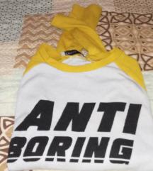 Retro senf zuto-bela majica na duge rukave