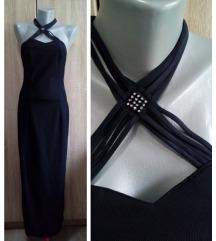 Crna dugacka haljina sa cirkonima