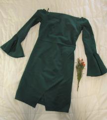 39. Haljina zelena sa puff rukavima