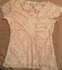 Nezno roze cipkana majica