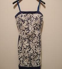 Mini plava haljina sa belom cipkom ✔️