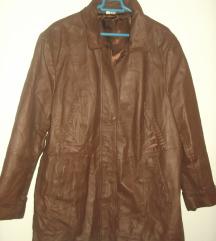 Kožna braon jakna