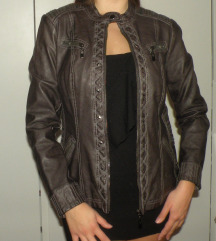 Siva kozna jakna sa nitnama