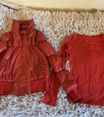 Crvena jakna + passage bluza