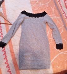 Siva haljina sa crnom cipkpm