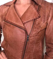 Stradivarius kozna braon jakna
