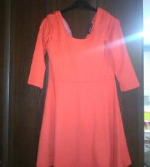 koral crvena fishobone haljina