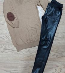 Dzemper haljina i kozne pantalone
